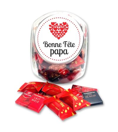 """Bonbonnière medium """"Bonne fête papa"""" (petits coeurs) - 700 g de chocolats"""