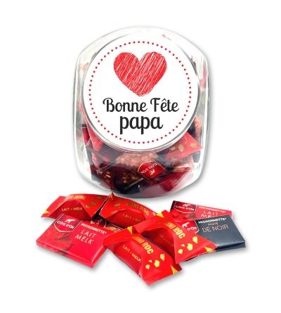"""Bonbonnière medium """"Bonne fête papa"""" (coeur dessiné) - 700 g de chocolats"""
